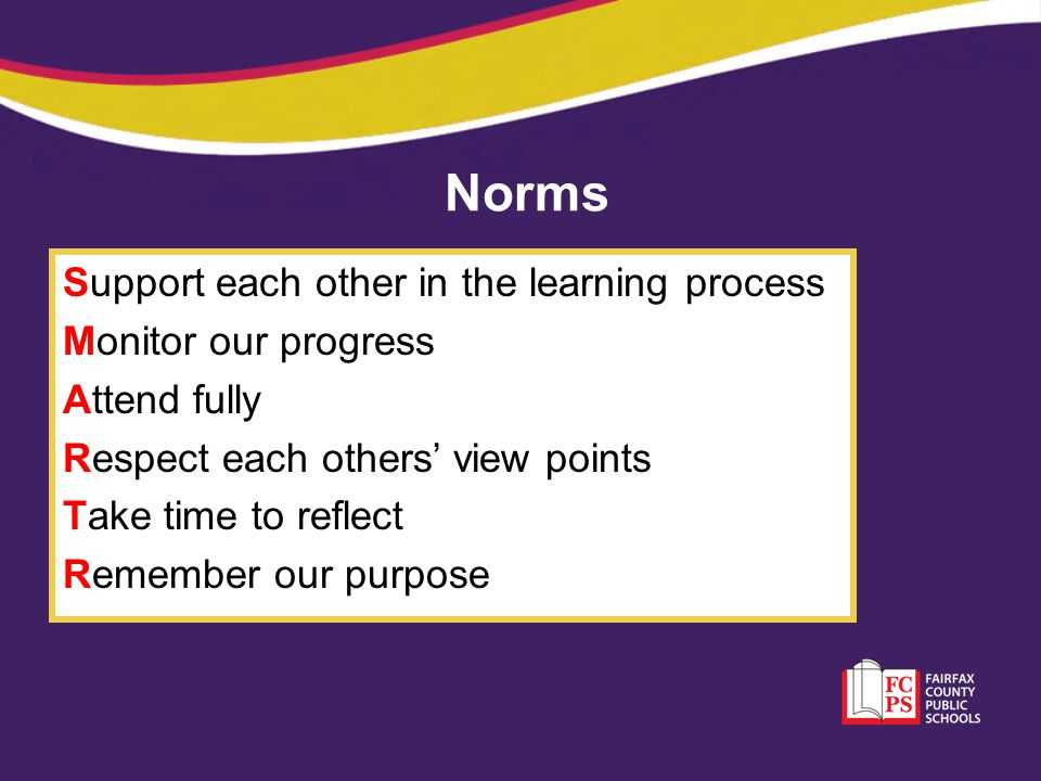 Norms Support each other in the learning process Monitor our progress Attend fully Respect each others' view points Take time to reflect Remember our