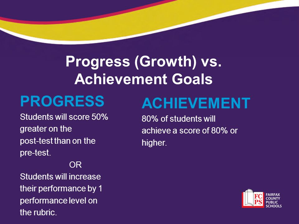 Progress (Growth) vs. Achievement Goals PROGRESS Students will score 50% greater on the post-test than on the pre-test. OR Students will increase thei