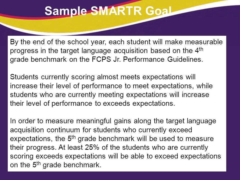 Sample SMARTR Goal By the end of the school year, each student will make measurable progress in the target language acquisition based on the 4 th grad