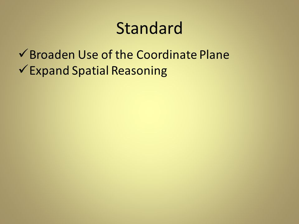 Standard Broaden Use of the Coordinate Plane Expand Spatial Reasoning