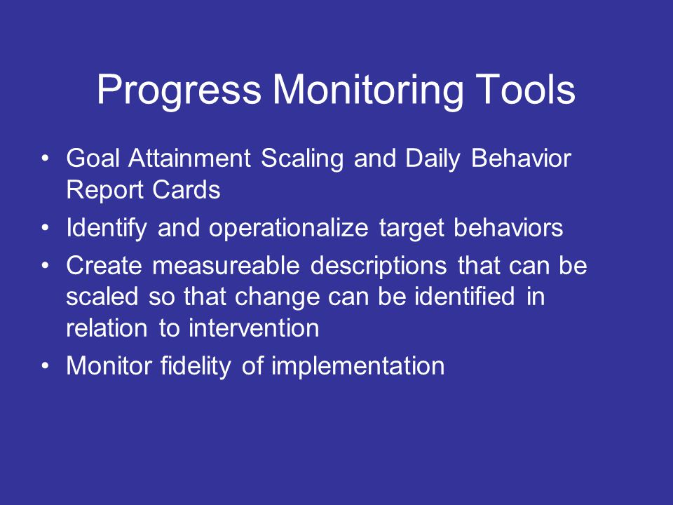 RIOT RIOT: A Problem Solving Approach (Heartland) Review Interview Observe Test- implement interventions and gather data about what works: self monitoring, rating scales, goal attainment scaling, behavior report cards Team- based decision- making at all tiers