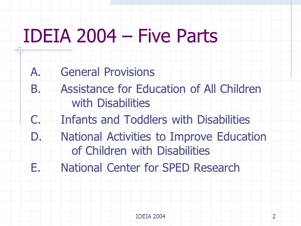 IDEIA 20043 Part A: General Provisions Describes the purpose of the law (section 1400) Legal definitions (section 1401) States not immune from suit for violations of IDEIA (section 1403) Requirements and timelines for federal SPED regulations (section 1406) Paperwork reduction (section 1408)