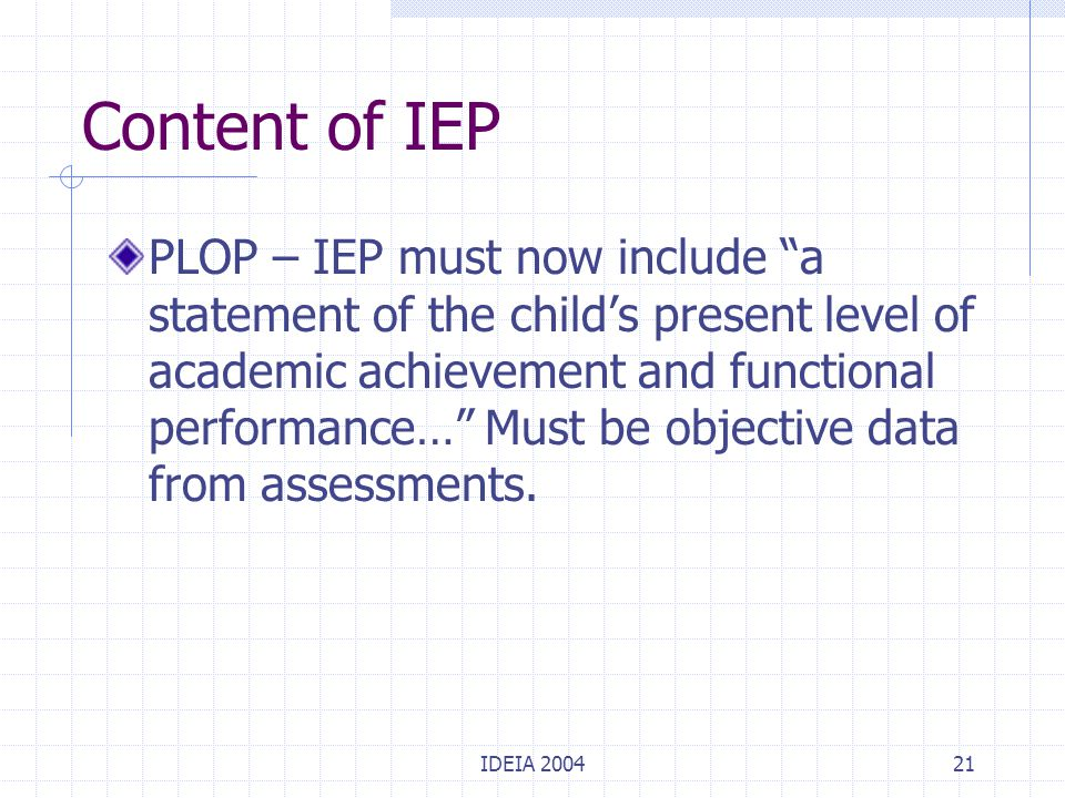 "IDEIA 200421 Content of IEP PLOP – IEP must now include ""a statement of the child's present level of academic achievement and functional performance…"""