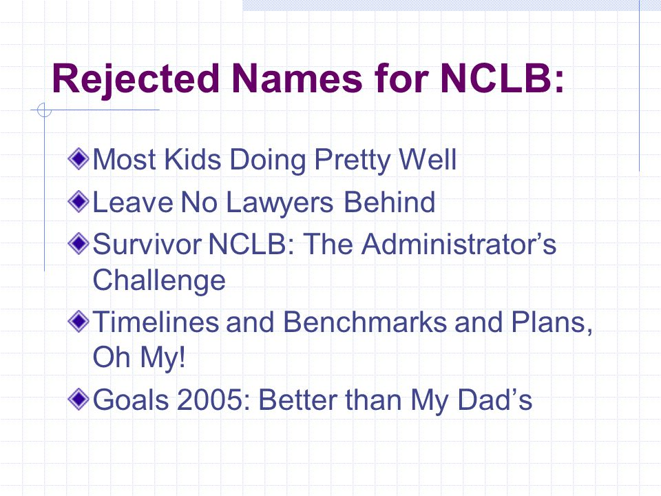 No Child Left Behind Act of 2001 Presented by: Karen Ryback Los Angeles County Office of Education Division for School Improvement