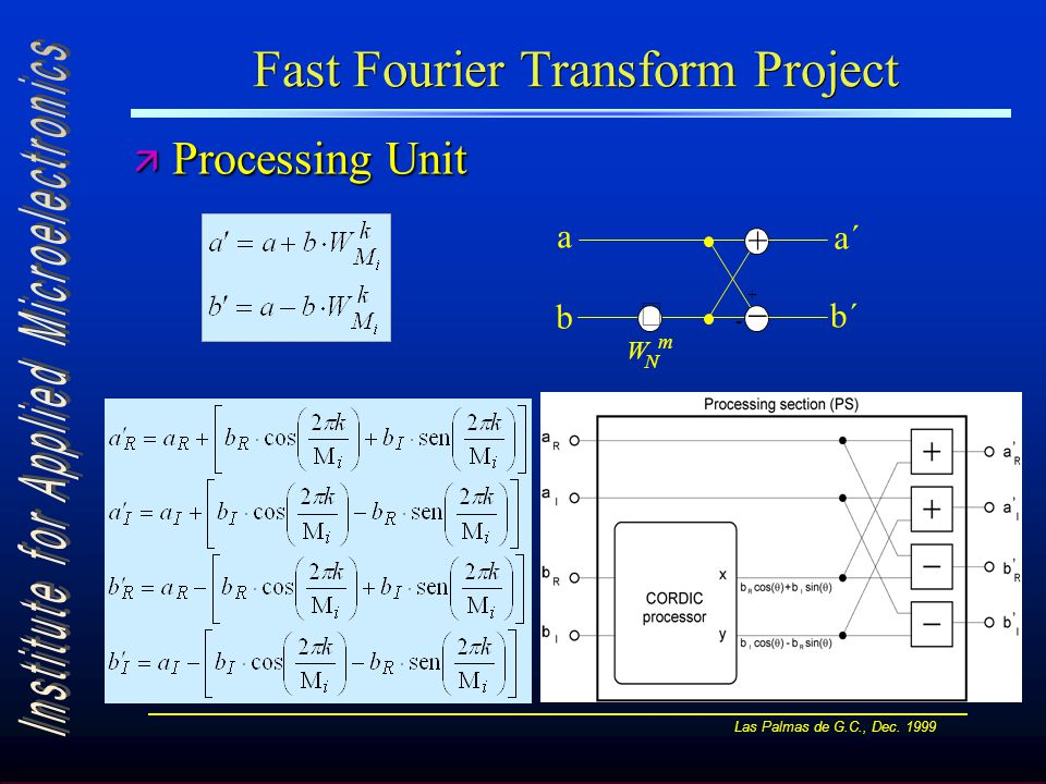 Las Palmas de G.C., Dec. 1999 Fast Fourier Transform Project ä Processing Unit +  W N m  - + a b a´ b´