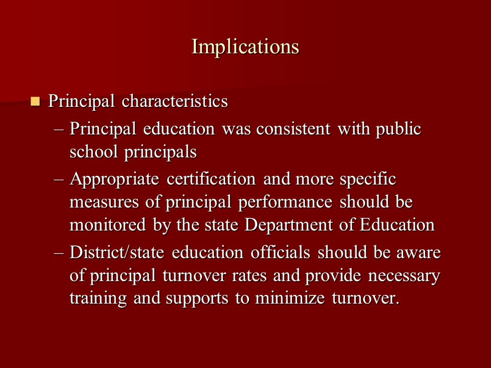 Implications Principal characteristics Principal characteristics –Principal education was consistent with public school principals –Appropriate certification and more specific measures of principal performance should be monitored by the state Department of Education –District/state education officials should be aware of principal turnover rates and provide necessary training and supports to minimize turnover.