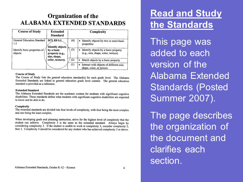 Read and Study the Standards This page was added to each version of the Alabama Extended Standards (Posted Summer 2007). The page describes the organi