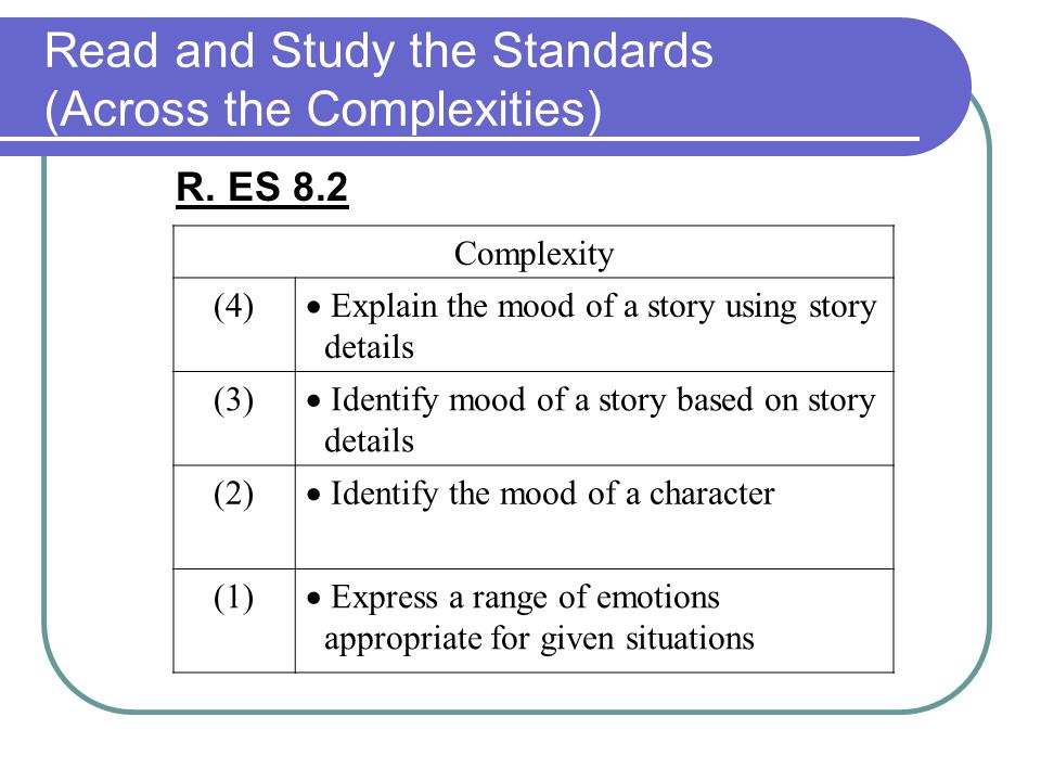 Complexity (4)  Explain the mood of a story using story details (3)  Identify mood of a story based on story details (2)  Identify the mood of a ch