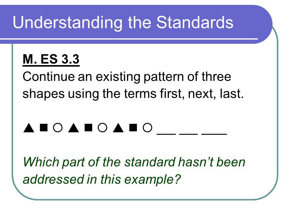 Understanding the Standards M.