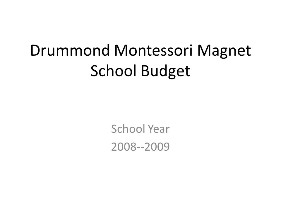 Drummond Montessori Magnet School Budget School Year 2008--2009