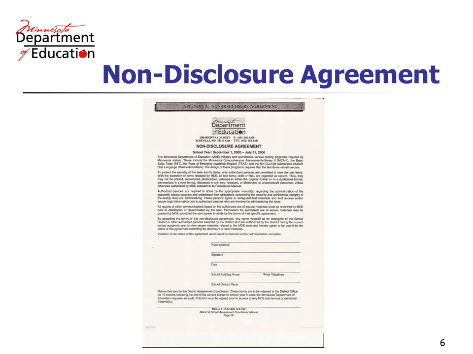 6 Non-Disclosure Agreement