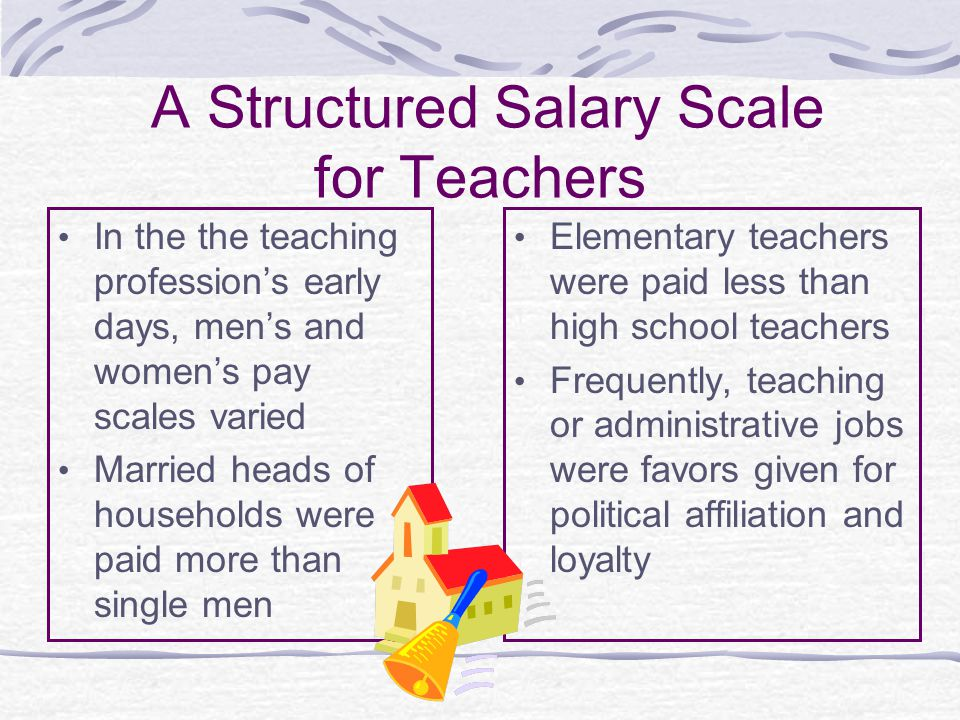 A Structured Salary Scale for Teachers In the the teaching profession's early days, men's and women's pay scales varied Married heads of households were paid more than single men Elementary teachers were paid less than high school teachers Frequently, teaching or administrative jobs were favors given for political affiliation and loyalty