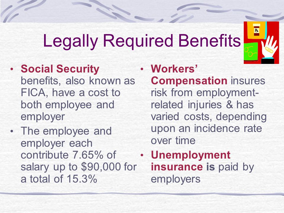 Legally Required Benefits Social Security benefits, also known as FICA, have a cost to both employee and employer The employee and employer each contr