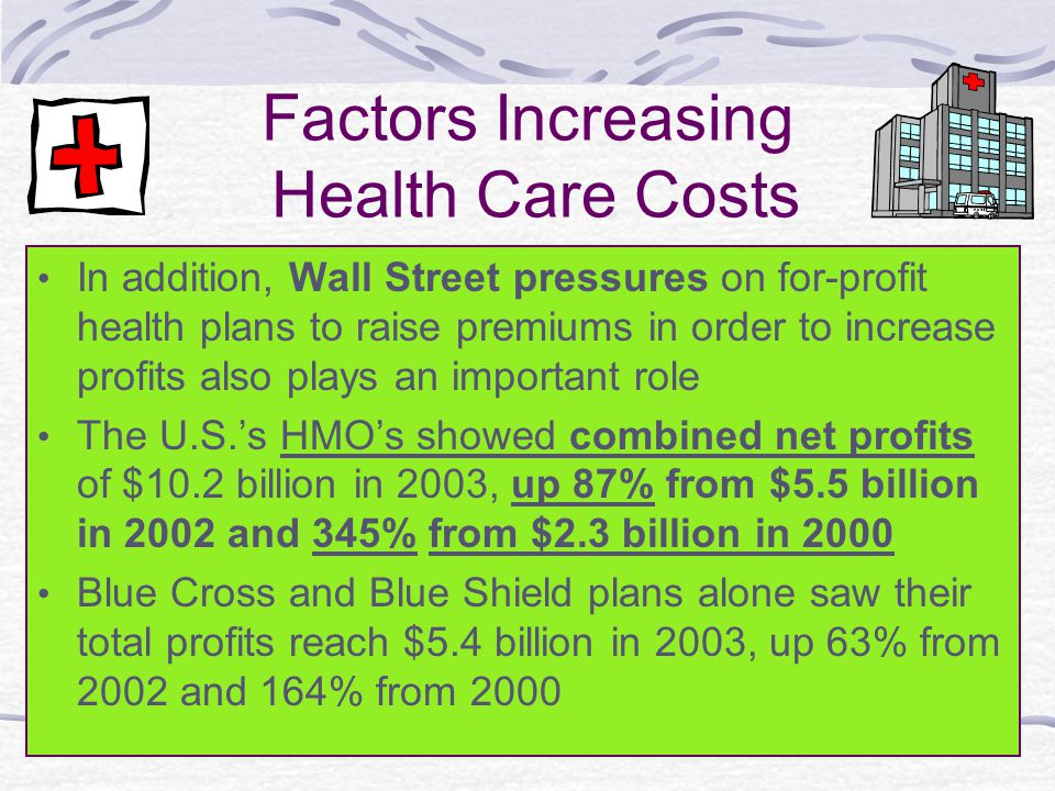 Factors Increasing Health Care Costs In addition, Wall Street pressures on for-profit health plans to raise premiums in order to increase profits also plays an important role The U.S.'s HMO's showed combined net profits of $10.2 billion in 2003, up 87% from $5.5 billion in 2002 and 345% from $2.3 billion in 2000 Blue Cross and Blue Shield plans alone saw their total profits reach $5.4 billion in 2003, up 63% from 2002 and 164% from 2000