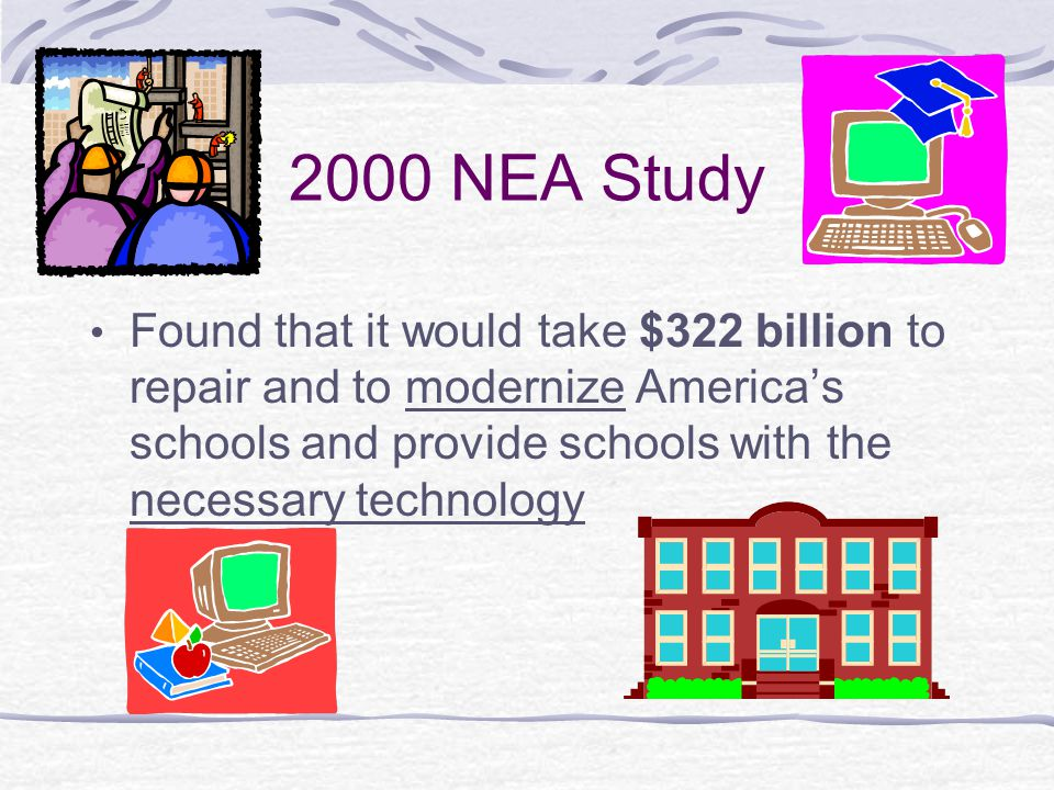 2000 NEA Study Found that it would take $322 billion to repair and to modernize America's schools and provide schools with the necessary technology