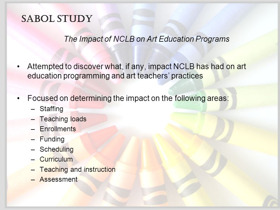 Attempted to discover what, if any, impact NCLB has had on art education programming and art teachers' practices Focused on determining the impact on the following areas: –Staffing –Teaching loads –Enrollments –Funding –Scheduling –Curriculum –Teaching and instruction –Assessment Sabol Study The Impact of NCLB on Art Education Programs