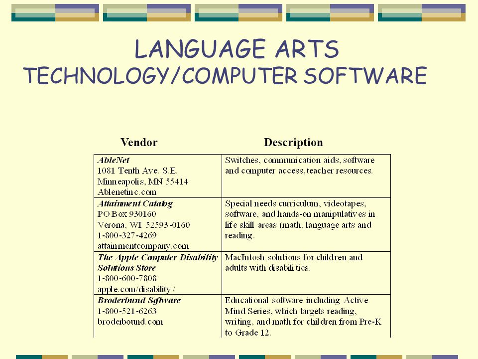 LANGUAGE ARTS TECHNOLOGY/COMPUTER SOFTWARE VendorDescription