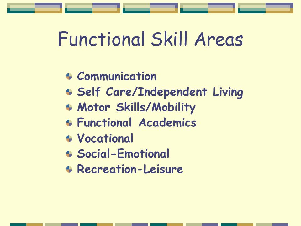 Functional Skill Areas Communication Self Care/Independent Living Motor Skills/Mobility Functional Academics Vocational Social-Emotional Recreation-Le
