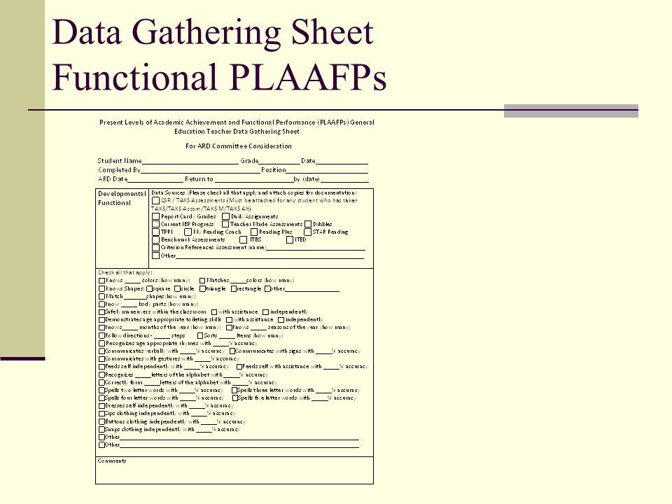 Data Gathering Sheet Functional PLAAFPs
