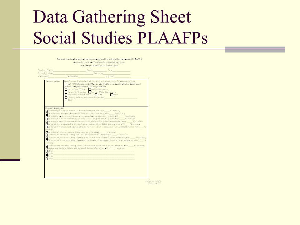 Data Gathering Sheet Social Studies PLAAFPs