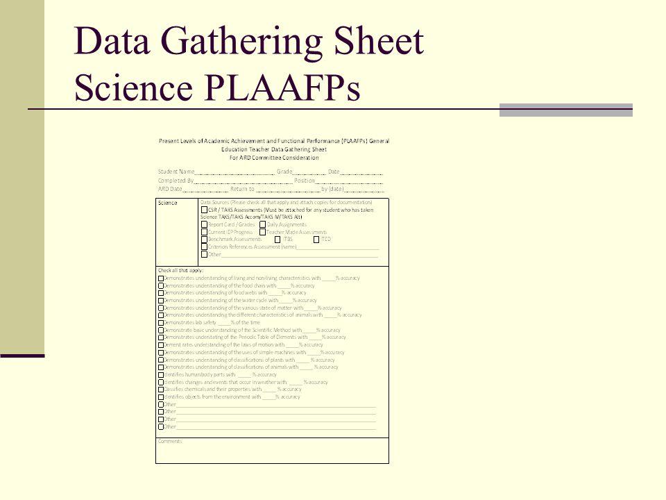 Data Gathering Sheet Science PLAAFPs