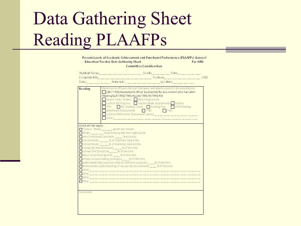 Data Gathering Sheet Reading PLAAFPs