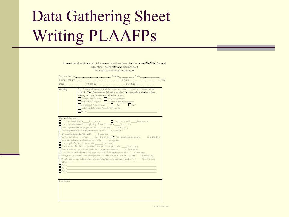 Data Gathering Sheet Writing PLAAFPs
