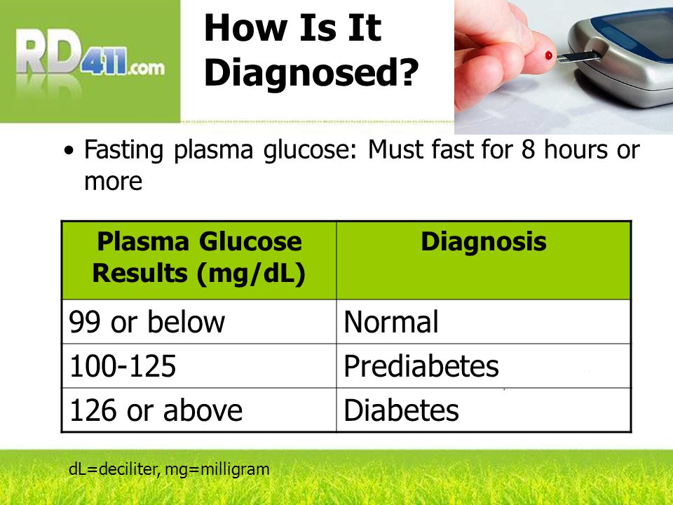 How Is It Diagnosed? Fasting plasma glucose: Must fast for 8 hours or more Plasma Glucose Results (mg/dL) Diagnosis 99 or belowNormal 100-125Prediabet
