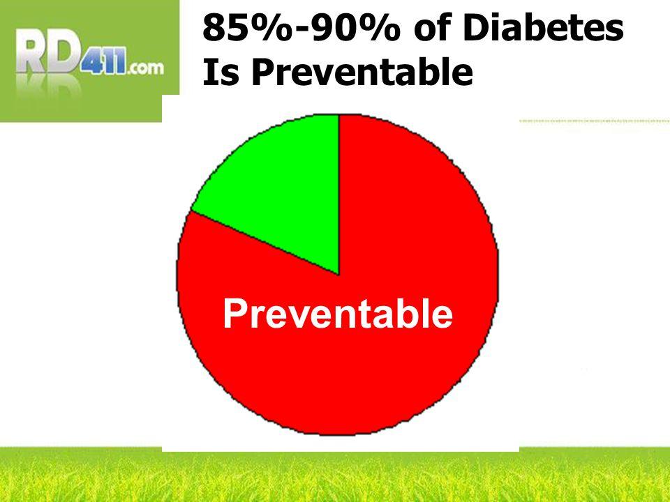 85%-90% of Diabetes Is Preventable Preventable