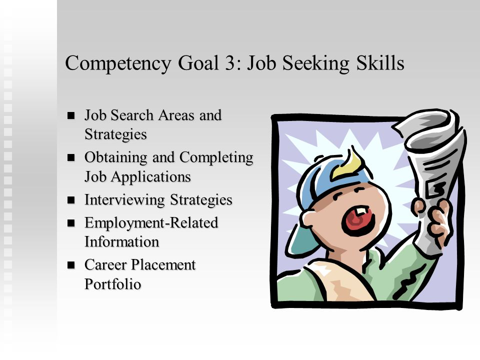 Competency Goal 2: Career Development Career Benefits Occupational Information Career Pathway Choice Vocational Assessment School-Based Vocational Training Work-Based Vocational Training