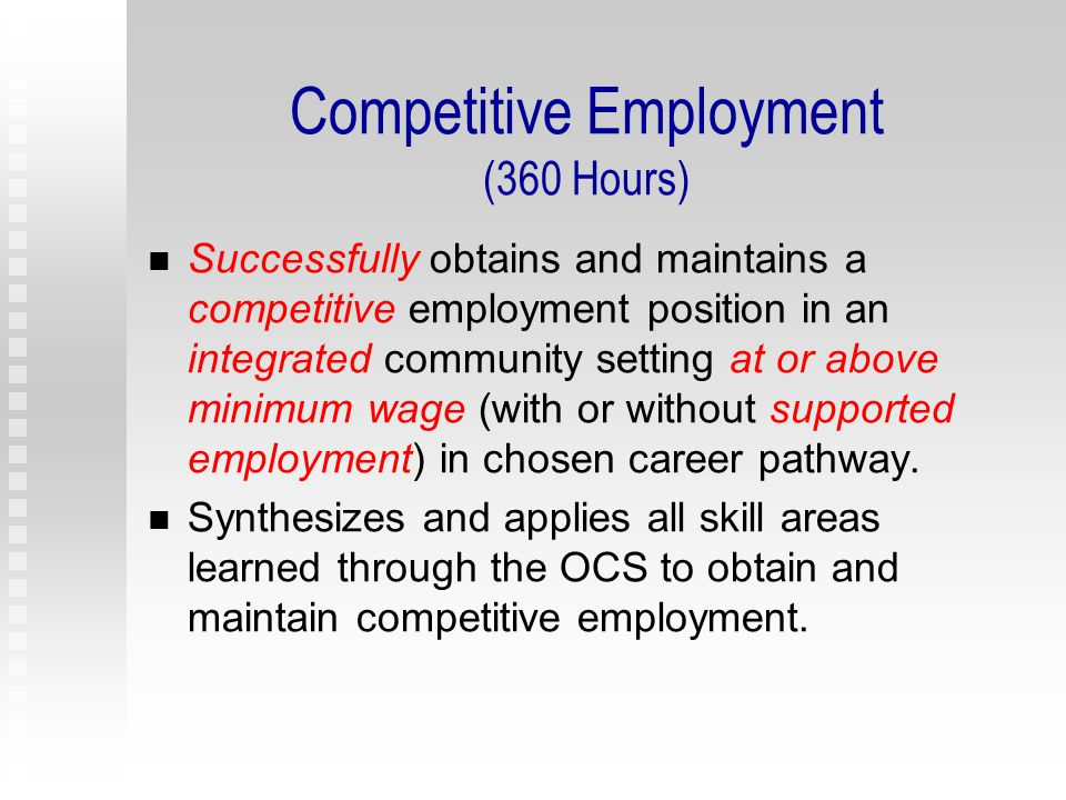 Work-Based Training Activities (240 hours) Community-Based Training (enclaves, mobile work crews) Situational Assessment Paid and Non-Paid Internships (WIA or CTE) Job Shadowing Apprenticeships Co-Op programs Industry Tours Interviews of Local Employers Part-Time Employment Volunteer Experiences Community Service Projects/Volunteerism