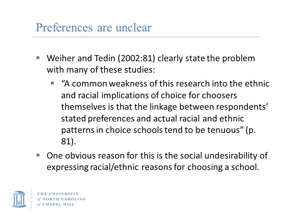 Preferences are unclear  Weiher and Tedin (2002:81) clearly state the problem with many of these studies:  A common weakness of this research into the ethnic and racial implications of choice for choosers themselves is that the linkage between respondents' stated preferences and actual racial and ethnic patterns in choice schools tend to be tenuous (p.