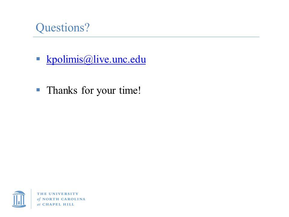 Questions?  kpolimis@live.unc.edu kpolimis@live.unc.edu  Thanks for your time!