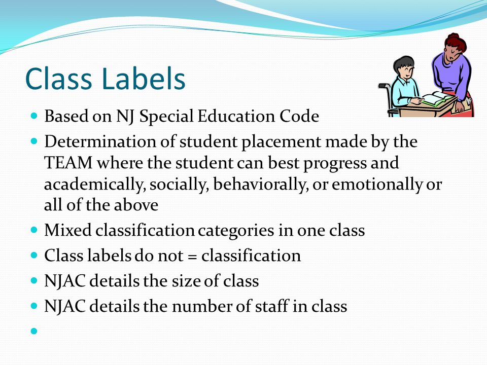 Class Labels Based on NJ Special Education Code Determination of student placement made by the TEAM where the student can best progress and academical