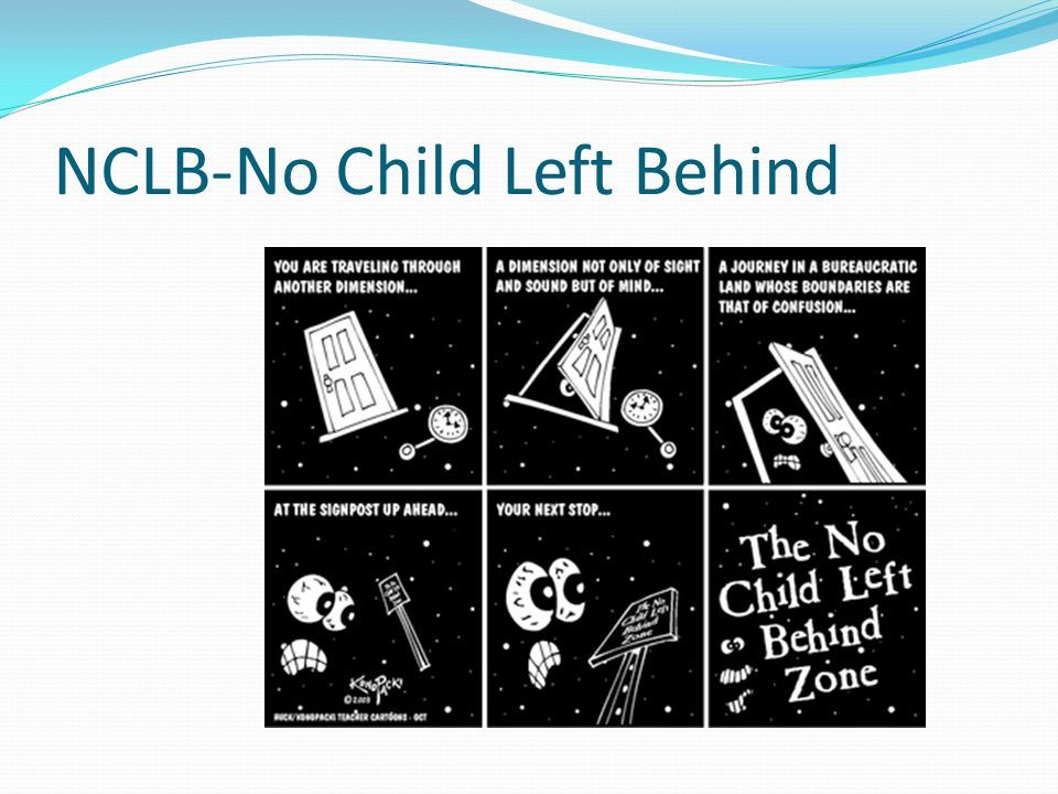 The Laws No Child Left Behind Highlights Highly Qualified Teacher Rules Testing and Assessment as it relates to Students with Disabilities School's Adequate Yearly Progress Schools in Need of Improvement Not covering this today.....
