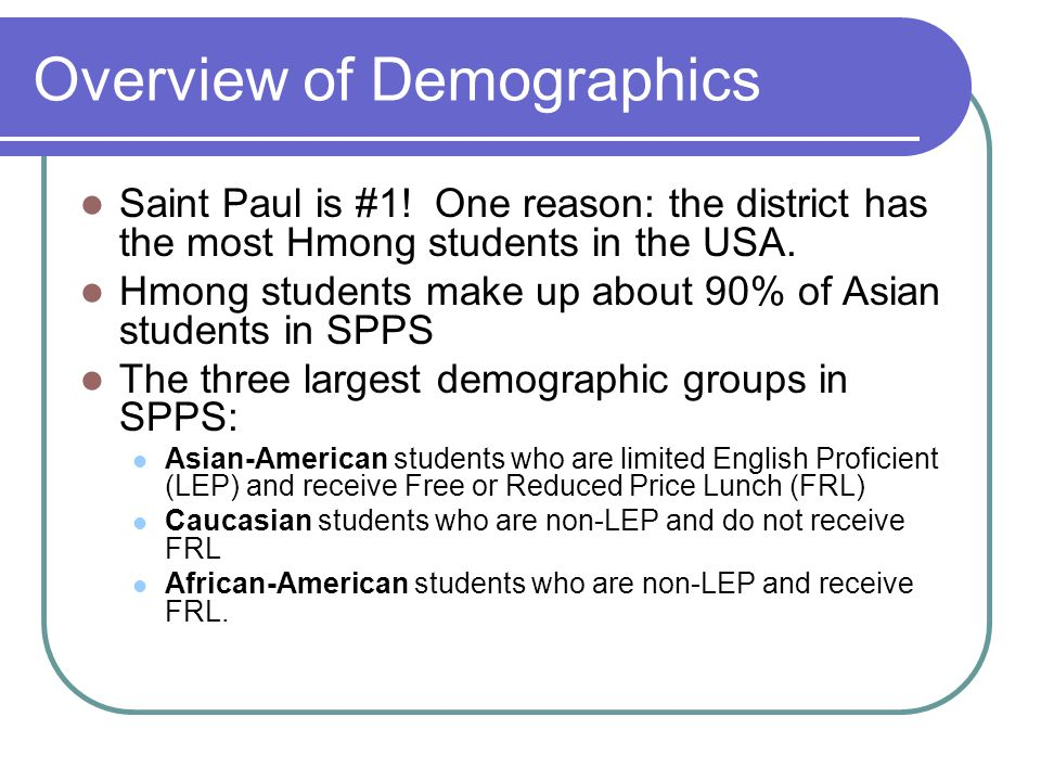 Overview of Demographics Saint Paul is #1! One reason: the district has the most Hmong students in the USA. Hmong students make up about 90% of Asian