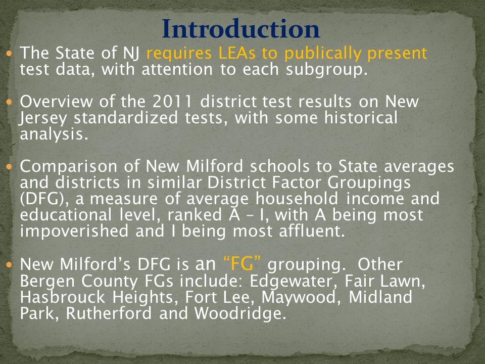 NJ Department of Education Adequate Yearly Progress (AYP) Status Under the NCLB Accountability Requirements: 2011 David E Owens Middle School (40/40 indicators met) 95% Participation Rate Made AYP Benchmark Made Safe Harbor LALMALALMALALMA Total PopulationYes NoYes Students w/DisabilitiesYes No Yes Limited Eng Prof.