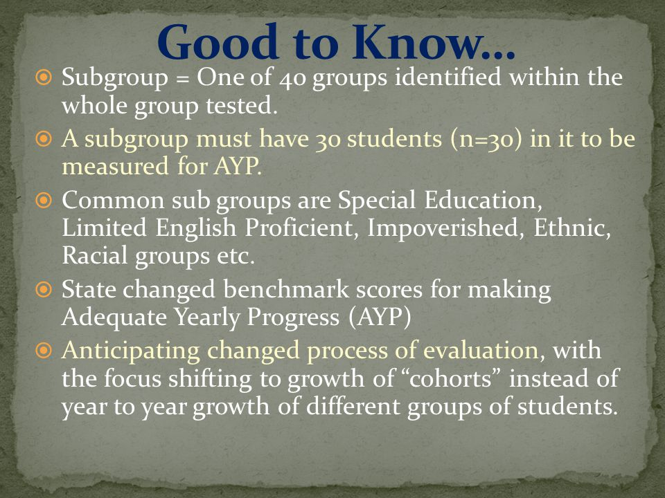  Subgroup = One of 40 groups identified within the whole group tested.