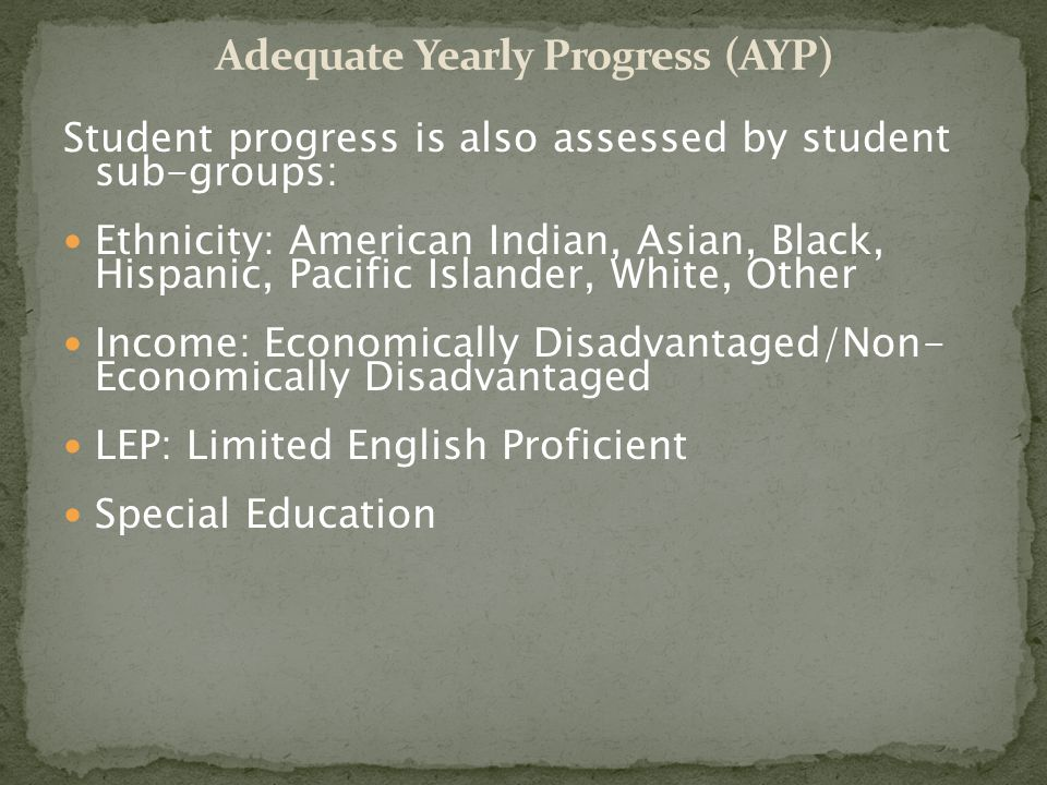 Student progress is also assessed by student sub-groups: Ethnicity: American Indian, Asian, Black, Hispanic, Pacific Islander, White, Other Income: Economically Disadvantaged/Non- Economically Disadvantaged LEP: Limited English Proficient Special Education