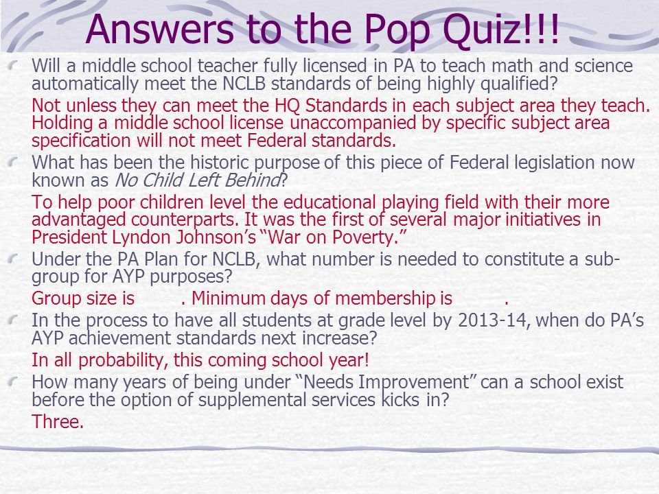 Answers to the Pop Quiz!!.