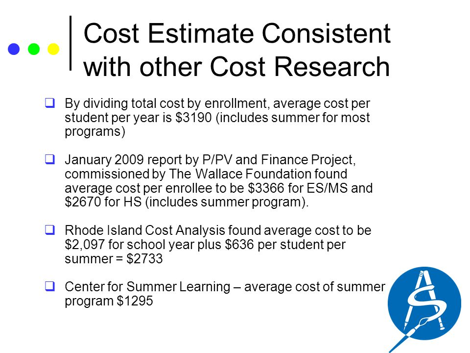 Cost Estimate Consistent with other Cost Research  By dividing total cost by enrollment, average cost per student per year is $3190 (includes summer