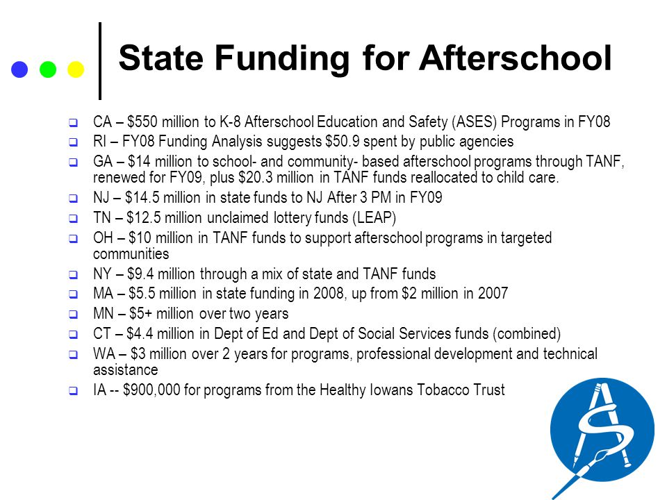 State Funding for Afterschool  CA – $550 million to K-8 Afterschool Education and Safety (ASES) Programs in FY08  RI – FY08 Funding Analysis suggest