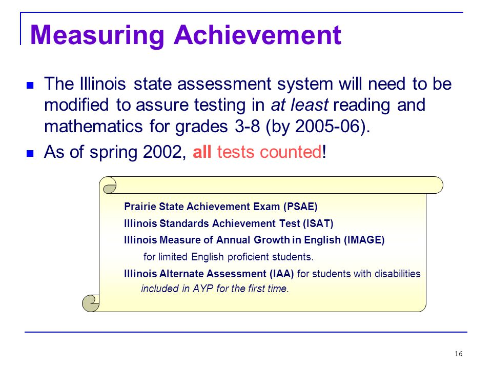15 Performance Goal 1: Achievement By 2013-14 all students will reach high standards, at a minimum attaining proficiency or better in reading/language arts and mathematics.