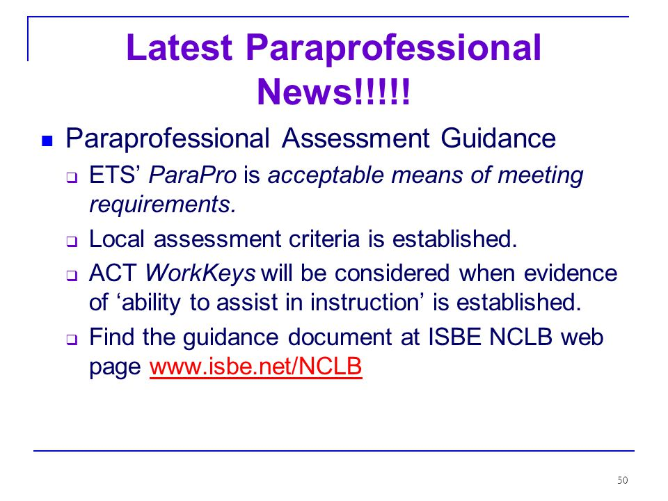 49 Qualified Paraprofessionals The law addresses qualifications, duties and responsibilities.