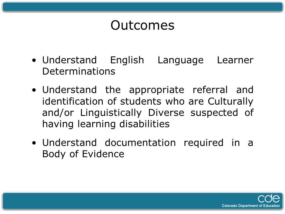 English Language Learner (ELL) Determination Home Language Survey (HLS) Colorado English Language Assessment (CELA)