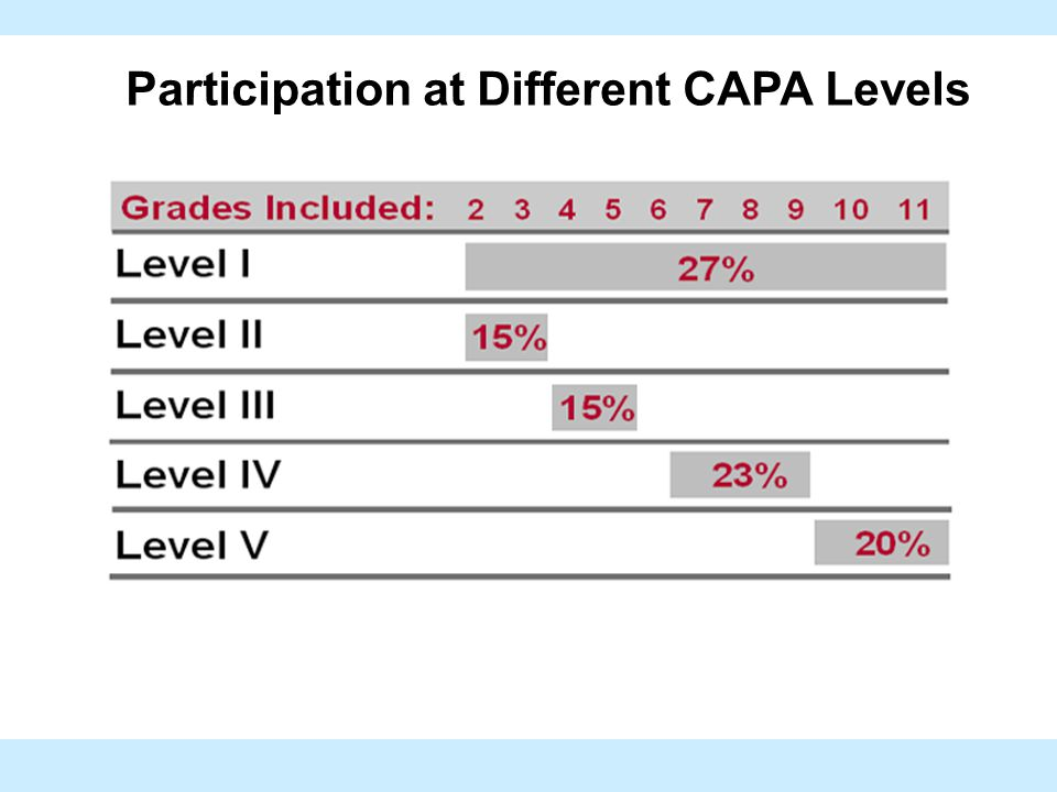 Participation at Different CAPA Levels