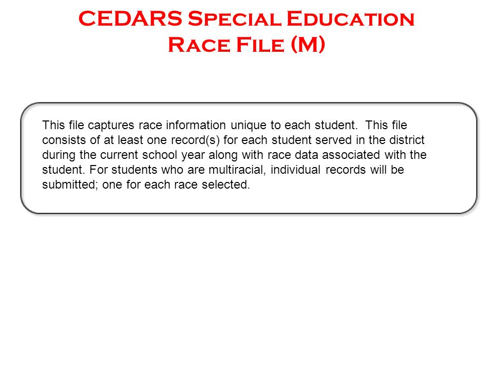 This file captures race information unique to each student.