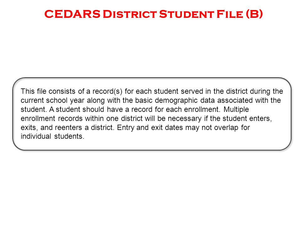 CEDARS District Student File (B) This file consists of a record(s) for each student served in the district during the current school year along with the basic demographic data associated with the student.