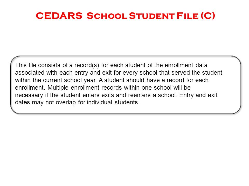 CEDARS School Student File (C) This file consists of a record(s) for each student of the enrollment data associated with each entry and exit for every school that served the student within the current school year.