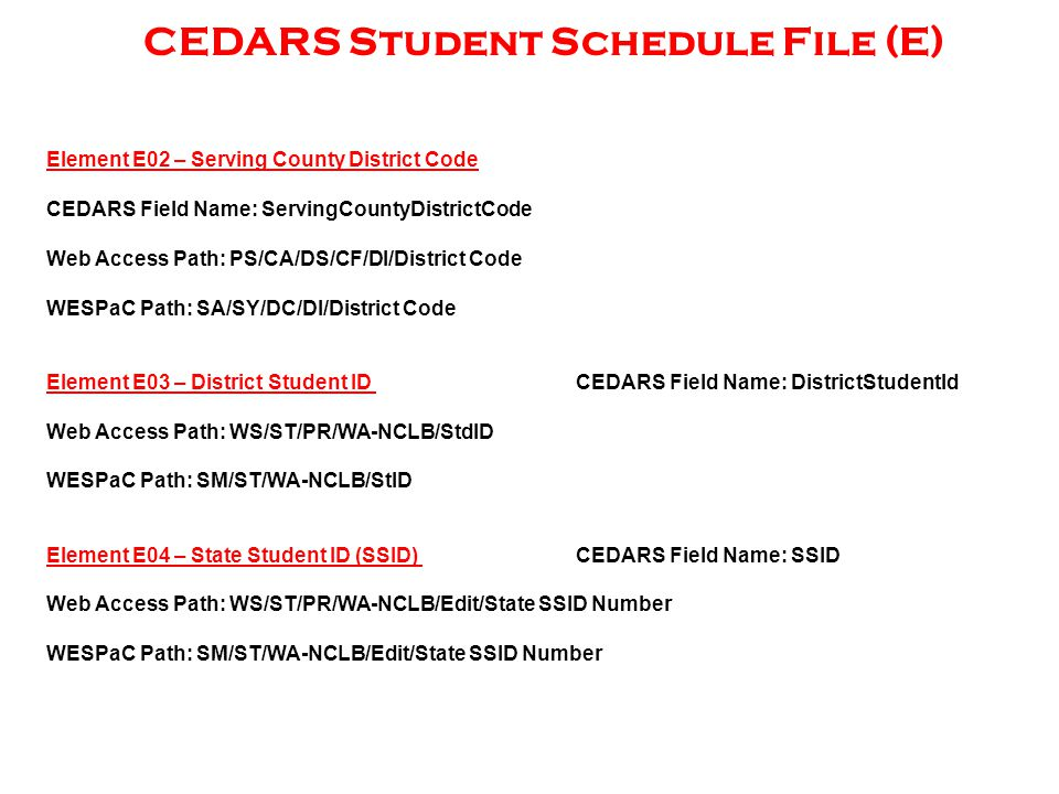 CEDARS Student Schedule File (E) Element E02 – Serving County District Code CEDARS Field Name: ServingCountyDistrictCode Web Access Path: PS/CA/DS/CF/DI/District Code WESPaC Path: SA/SY/DC/DI/District Code Element E03 – District Student ID CEDARS Field Name: DistrictStudentId Web Access Path: WS/ST/PR/WA-NCLB/StdID WESPaC Path: SM/ST/WA-NCLB/StID Element E04 – State Student ID (SSID) CEDARS Field Name: SSID Web Access Path: WS/ST/PR/WA-NCLB/Edit/State SSID Number WESPaC Path: SM/ST/WA-NCLB/Edit/State SSID Number